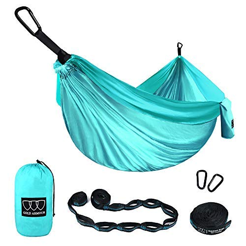 Gold Armour Camping Hammock - XL Double Parachute Camping Hammock (2 Tree Straps 16 LOOPS/10 FT Included) Lightweight Nylon Portable Hammock, Best Parachute Double Hammock (Seafoam/Seafoam)