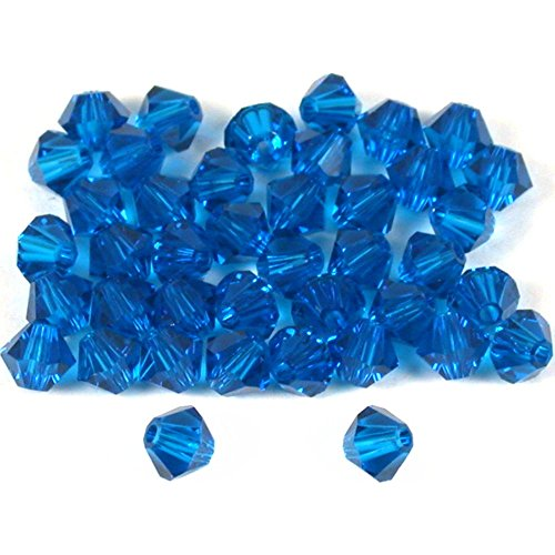 - 40 Capri Blue Bicone Swarovski Crystal Beads 5301 4mm