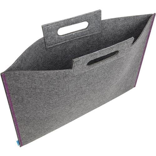 Itoya ProFolio Midtown Bag 19 inches X 26 inches Gray Felt Purple Stitching 12 MD-1926-GY by ITOYA