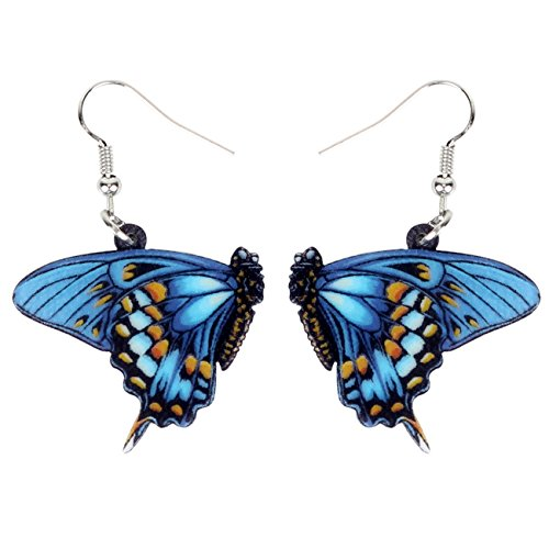 NEWEI Acrylic Drop Dangle Floral Butterfly Earrings Sweet Insect Fashion Jewelry For Girl Women Charms Gift (Blue)