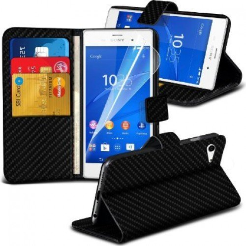 Sony Xperia Z3 Compact Carbon Cubierta del caso con cuero (Negro) Plus de regalo libre, Protector de pantalla y un lápiz óptico, Solicitar ahora mejor caja del teléfono Valorado en Amazon! By FinestPh