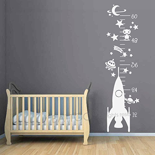 "BATTOO Growth Chart Wall Decal Rocket Growth Chart Wall Sticker Space Ship Planets and Stars Kids Room Vinyl Wall Art Sticker(dark blue, 37"" h x58 w)"