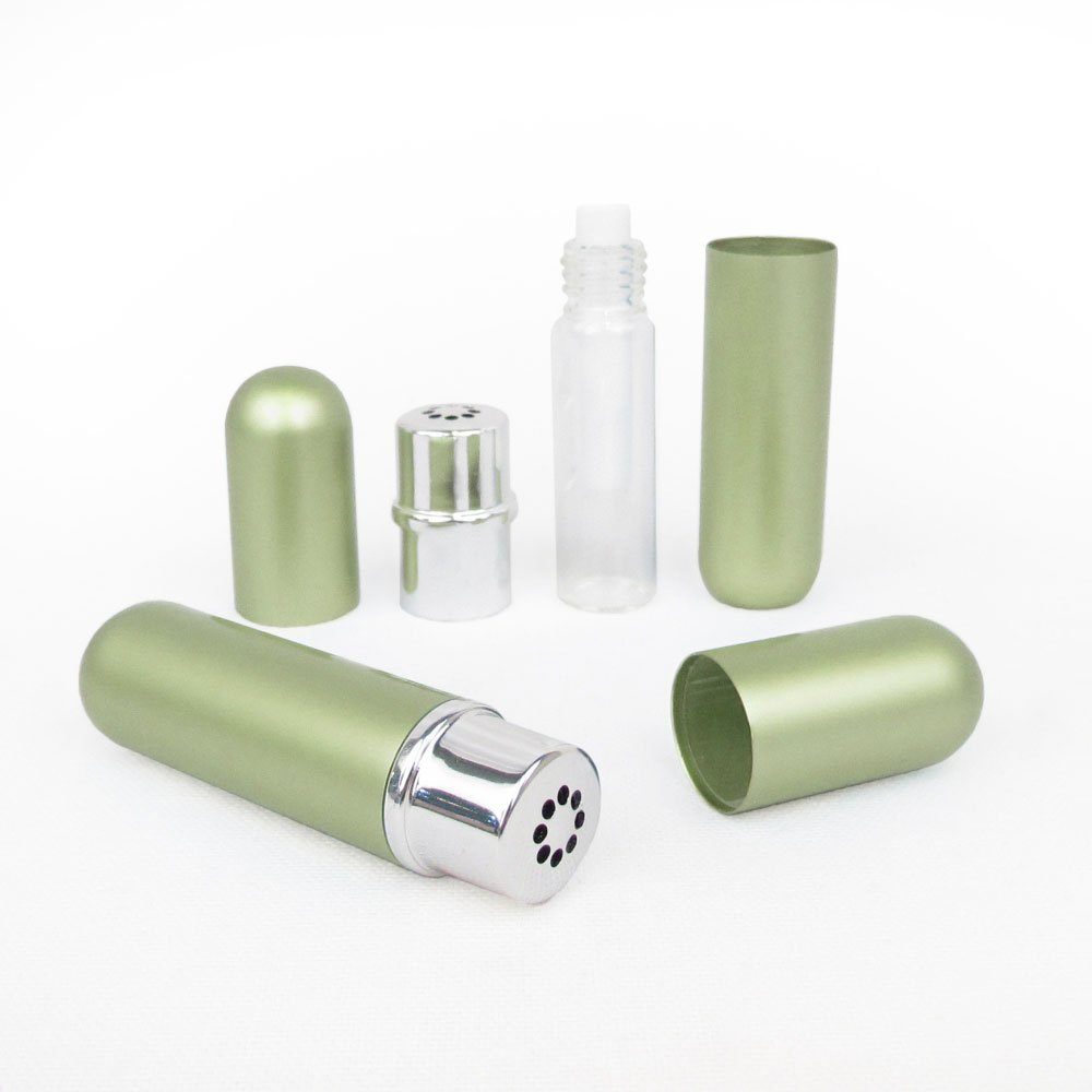 Green Empty Essential Oil Personal Inhaler Refillable Aluminum and Glass With Removable Bottle by Rivertree Life