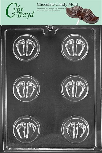 Cybrtrayd Life of the Party B057 Baby Feet Cookie Mold Baby Chocolate Candy Mold in Sealed Protective Poly Bag Imprinted with Copyrighted Cybrtrayd Molding (Baby Feet Cookie)