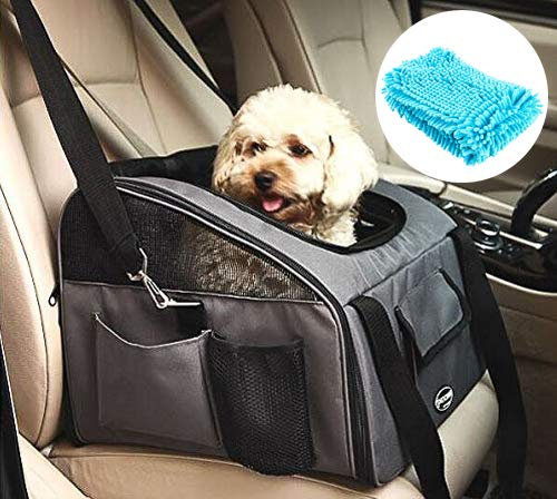 PETTOM Pet Car Seat Carrier Airline Approved Dog Cat Lookout Booster Seat for Pets up to 20 lbs (Large, Grey) (Best Airline Carrier For French Bulldog)