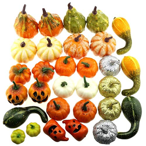 Gresorth 30pcs Mini Fake Pumpkins Decoration Artificial Vegetable Kitchen Halloween Play Food Display -