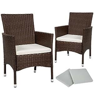TecTake Silla de jardín (2unidades, ratán marrón Mixed Incluye almohada y 2juegos bezugs, tornillos de acero inoxidable