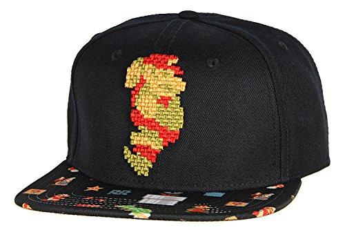 Nintendo Super Mario Brothers Mario 8Bit Pixel Sublimated Bill Snapback Cap Hat