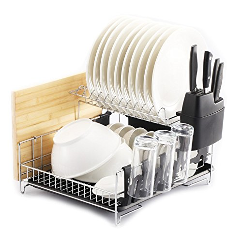 PremiumRacks Professional Dish Rack - 304 Stainless Steel - Fully Customizable - Microfiber Mat Included - Modern Design - Large Capacity ()