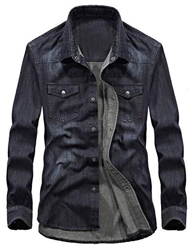 chouyatou Men's Essential Button Down Long Sleeve Washed Denim Shirt (X-Large, Bluish Black)