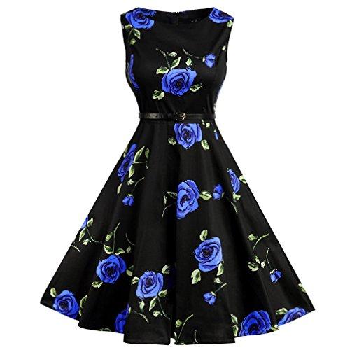 1960s Rockability Floral Print Dress Swing Dress Juniors