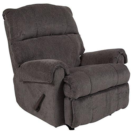 Flash Furniture Contemporary Kelly Gray Super Soft Microfiber Rocker Recliner (Broyhill Leather Ottoman)