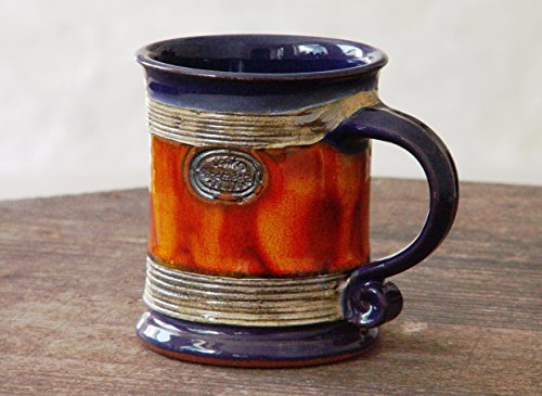 Blue and Orange Wheel Thrown Pottery Coffee or Tea Mug