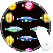 Luxlady Round Gaming Mousepad 24006547 Neon Colored Christmas Decorations 2 Neon Colored Christmas Decorations against a Flat Black Background