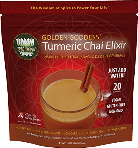 Golden Goddess Turmeric Chai: Ultimate Delicious Golden Milk, Award-Winning Weight Loss Drink + Stress Relief + Cortisol Manager + Herbal Adrenal Support with Clinically Proven KSM-66 Ashwagandha from Spice Pharm