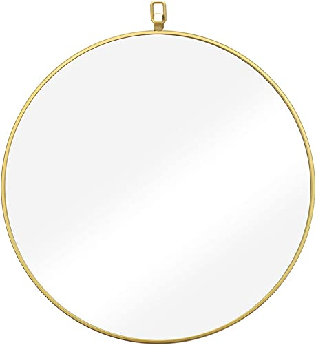 IPOUF Wall Mirror 42 inch Gold Round Wall Mirror with Decorative Head for Entryways, Washrooms, Living Rooms