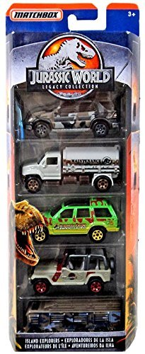 Following Toyota Van - Matchbox Jurassic World Legacy Collection 5-Pack ~ Island Explorers ('97 Mercedes-Benz ML320, MBX Tanker, Ford Explorer Tour, Jeep Wrangler Staff Vehicle, Fleetwood RV Mobile Lab)