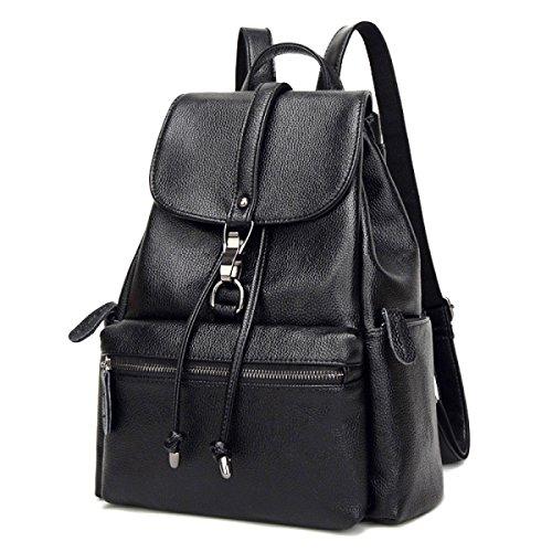Mochila De Cuero Lady 2018 New Leather Backpack College Bag Mochila De Viaje Casual Negro Azul negro