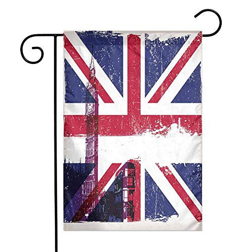 HouseLookHome Union Jack Butterflies and Tulips Spring Garden FlagGrungy Aged UK Flag Big Ben Double Decker Country Culture Historical Landmark Spring Garden Flag Flowers W12 x L18 inch Multicolor