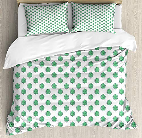 Ambesonne Tropical Duvet Cover Set, Exotic Summer Pattern Hawaiian Arcadia with Monstera Leaves Repetition, Decorative 3 Piece Bedding Set with 2 Pillow Shams, Queen Size, Shamrock Green White
