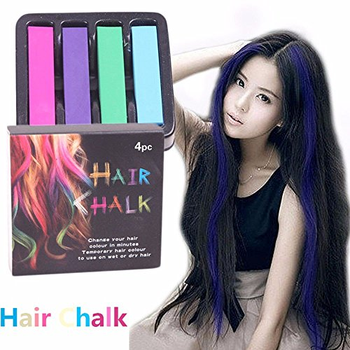AKOAK 4 Colors/Set Non-Toxic Hair Chalks Dye Soft Pastels Salon Kit Fast Temporary (Understanding Hair Color)