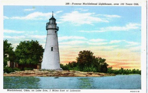 (Photo Reprint Famous Marblehead Lighthouse, over 100 Years Old, Marblehead, Ohio, on Lake Erie, 3 miles east )