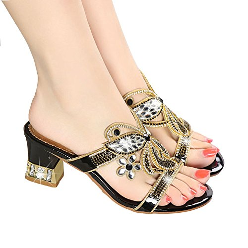 Desgaste Black Los Imitación Eu35 Las eu39uk65 uk3 Mujer Cuero La Highxe Deporte De Zapatillas Verano Sandalias Del Diamantes Y Gruesa Zapatos Con dfx6qR