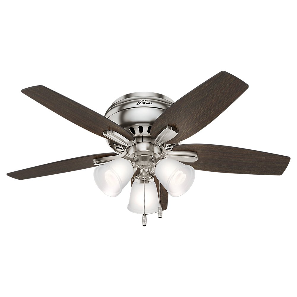 Hunter 51079 Hunter Newsome Low Profile with 3 Kit Ceiling Fan with Light, 42'', Brushed Nickel
