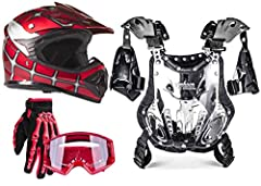Everything you expect from TYPHOON HELMETS. Helmet, glove, goggle & chest protector combo loaded with features including:  Helmet:   True youth sized smaller shells, not over padded adult helmets   Meets Department of Transportation (DOT ...