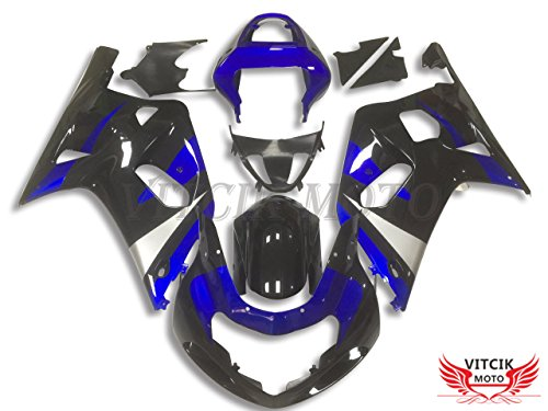 VITCIK (Fairing Kits Fit for Suzuki GSXR1000 K1 K2 2000 2001 2002 GSXR 1000 K1 K2 00 01 02 Plastic ABS Injection Mold Complete Motorcycle Body Aftermarket Bodywork Frame (Black & Blue) A097
