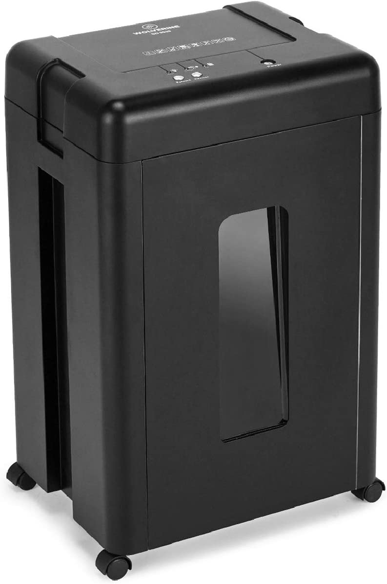 WOLVERINE 15-Sheet Super Micro Cut High Security Level P-5 Heavy Duty Paper/CD/Card Shredders for Home Office, Ultra Quiet by Lubrication-Free Cutter and 8 Gallons Pullout Waste Bin SD9520(Black ETL)