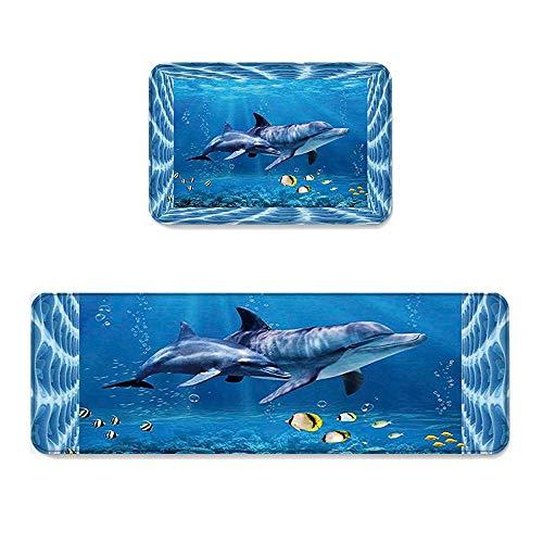 YGUII Undersea Life 2 Piece Non-Slip Kitchen Mat Runner Rug Set Doormat Area Rugs 3D Design Blue Sea World Dolphin 16X23.6in (40x60cm) and 16X47in (40x120cm)