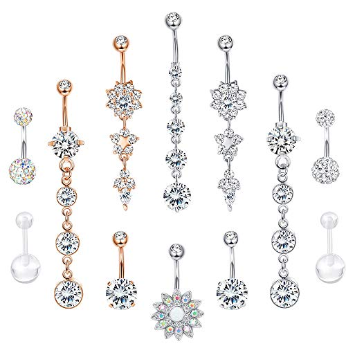 Jstyle 12 Pcs 14G Stainless Steel Belly Button Rings for Women Girls Navel Rings CZ Dangle Curved Barbell Body Piercing Jewelry