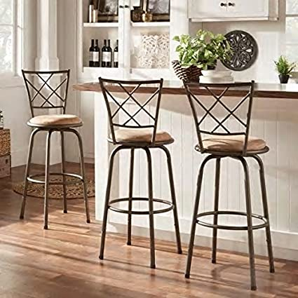 Marvelous Adjustable Swivel High Back Kitchen Stools Set Of 3 Machost Co Dining Chair Design Ideas Machostcouk