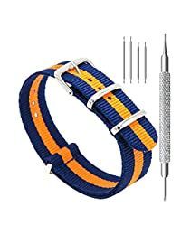 CIVO Watch Bands NATO Premium Ballistic Nylon Watch Strap Stainless Steel Buckle 18mm 20mm 22mm with Top Spring Bar Tool and 4 Spring Bars Bonus (Navy/Pumpkin, 20mm)