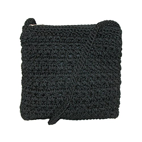 CTM Women's Crossbody Black Handbag Crochet qn4xnZY