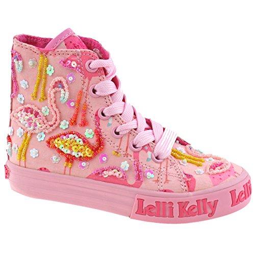 Lelli Kelly LK5090 (BC02) Pink Fantasy Flamingo Canvas Baseball Boots-32 (UK 13)