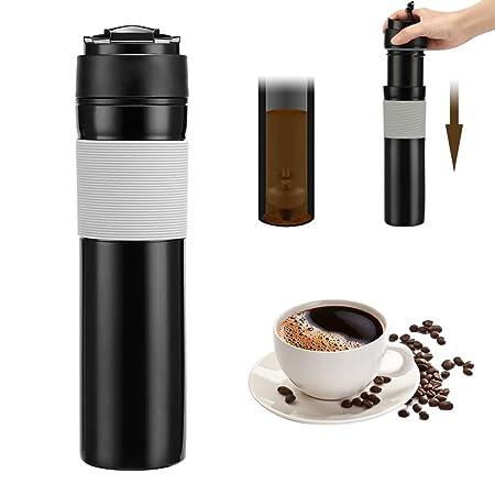 Konesky Prensa francesa portátil Botella de café 350 ml Té Cafetera Botella Botella de viaje Vacío Émbolo del café para acampar Senderismo Oficina ...