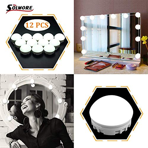 SOLMORE Mirror Lights LED Vanity Mirror Lights Kit Hollywood Style Flexible 12 Dimmable LED Light Bulbs Lighting Fixture Strip for Makeup Table Set in Dressing Room with Dimmer and USB Power Supply