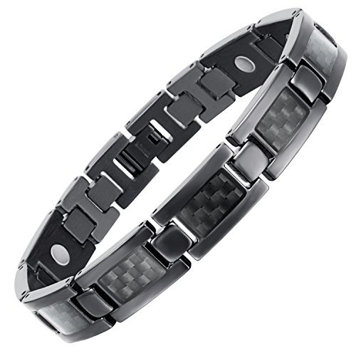 Rainso Mens Titanium Magnetic Therapy Carbon Fiber Black Bracelets for Arthritis Wristband Adjustable (Black) Carbon Fiber Magnetic Bracelet