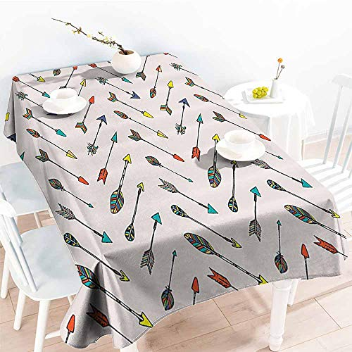 Homrkey Elegance Engineered Tablecloth Arrow Decor Collection Colored Arrowheads and Arrow Tails Pattern Decorative Art Image Orange Yellow Turquoise Picnic W54 xL84 ()