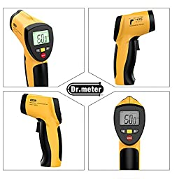 Dr.meter Non-contact Digital Laser Infrared Thermometer with Backlit LCD Display,Max/Min Mode,(-122℉~1022℉/-50°C to +550°C),Carry pouch Included. IR-20