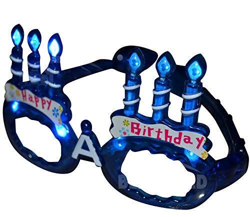 Happy Birthday Light Up LED Glasses / Shades - Blue