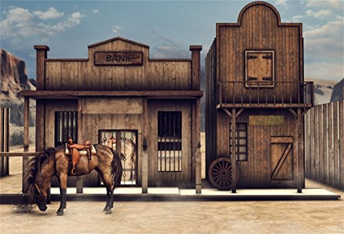 CSFOTO 7x5ft Background for Horse in Front of Bank Building in Wild West Cowboys Photography Backdrop Nostalgia and Retro Street Adventure Hardship Cartoon Photo Studio Props Polyester Wallpaper