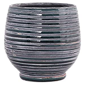 Little Green House Round Ceramic Vase, Grey