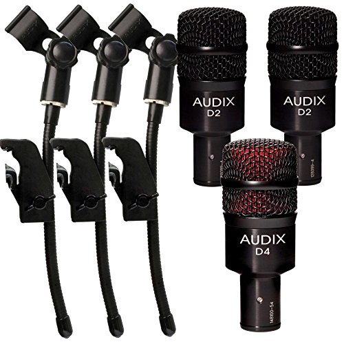 ((2) Audix D2 Dynamic Microphones with D4 Hypercardioid Microphone and (3) DVice Gooseneck Mic Clips)
