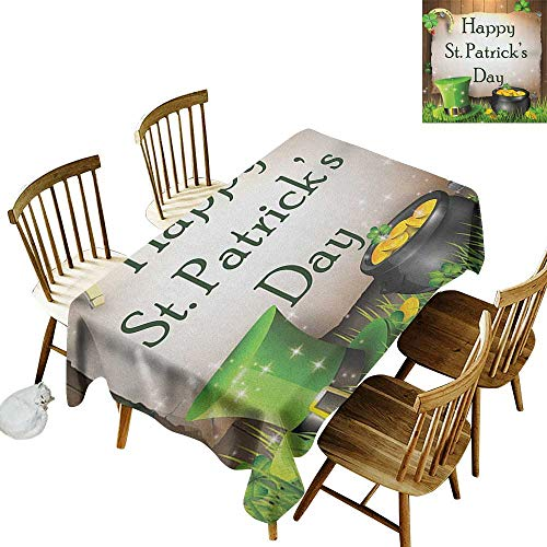kangkaishi Anti-Wrinkle and Anti-Wrinkle Polyester Long Tablecloth for Weddings/banquets Happy Celebration with Text on Wooden Planks Gold and Hat Irish Tradition W52 x L70 Inch Multicolor