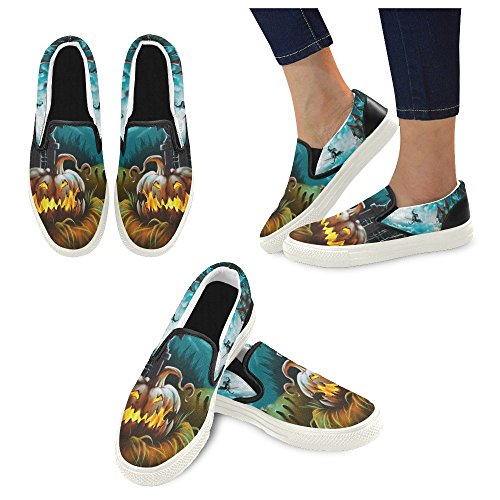 D-historien Tilpasset Happy Halloween Gresskar Menns Slip-on Canvas Sko  Mote Sneaker Multicoloured9 ...