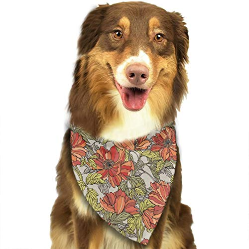 ANYWN Pet Dog Bandanas Triangle Bibs Scarfs Poppy Roses Flowers Accessories for Puppies Cats Pets Animals Large -