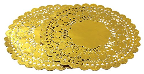 12 Inch Gold Foil Metallic Round Paper Doilies Golden Foil Paper Doilies for Party Wedding (48 Pack) by hihiluxern (Image #2)